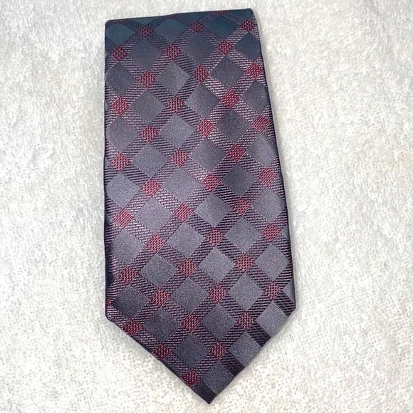 Michael Kors Silk Tie Grey & Burgundy
